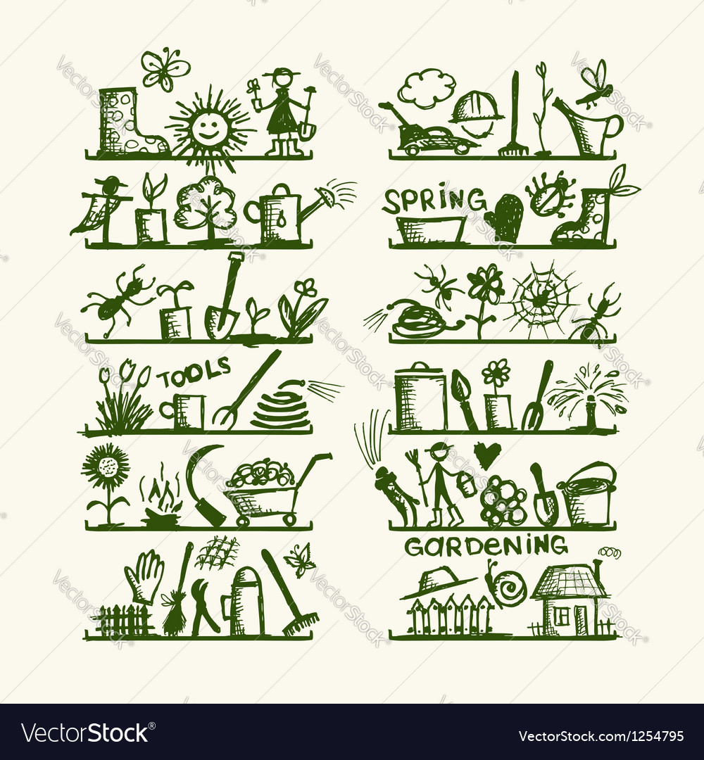 Garden tools on shelves sketch for your design vector