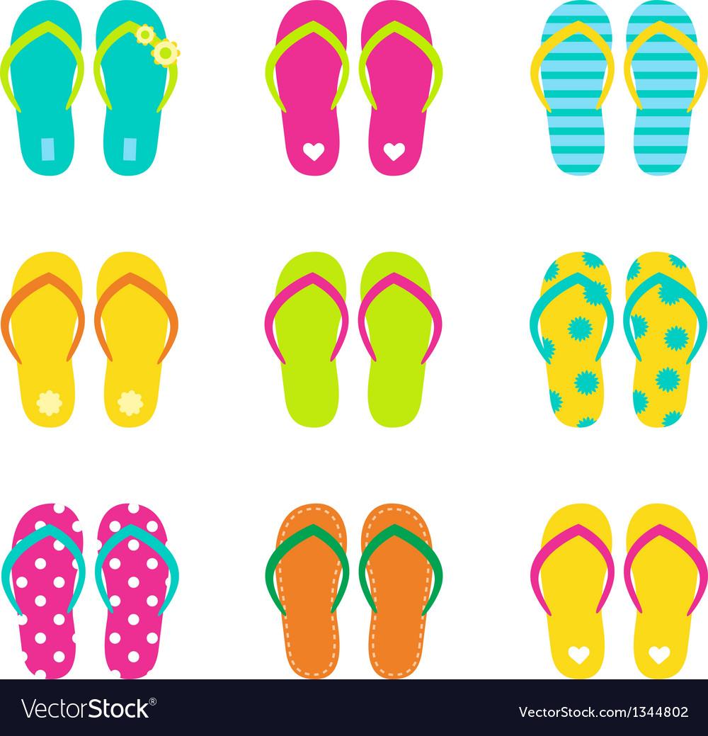 Summer flip flops set isolated on white vector