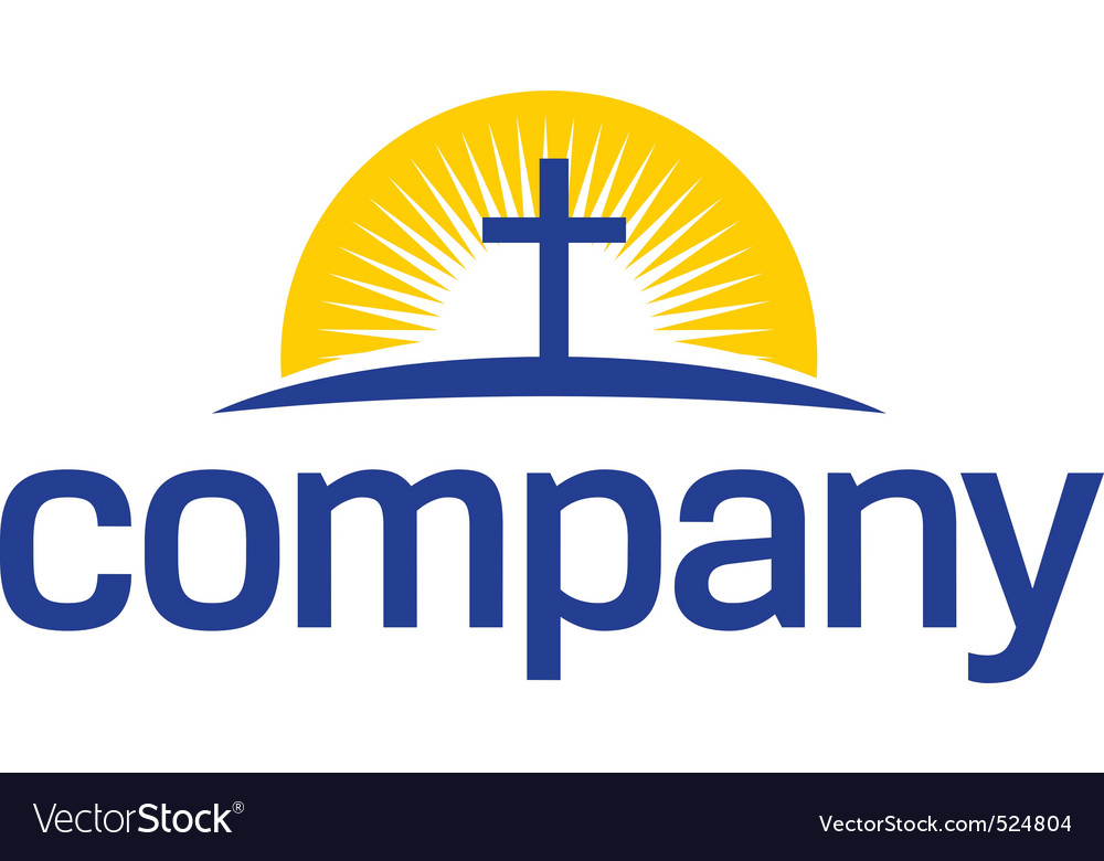 Cross with sun logo vector