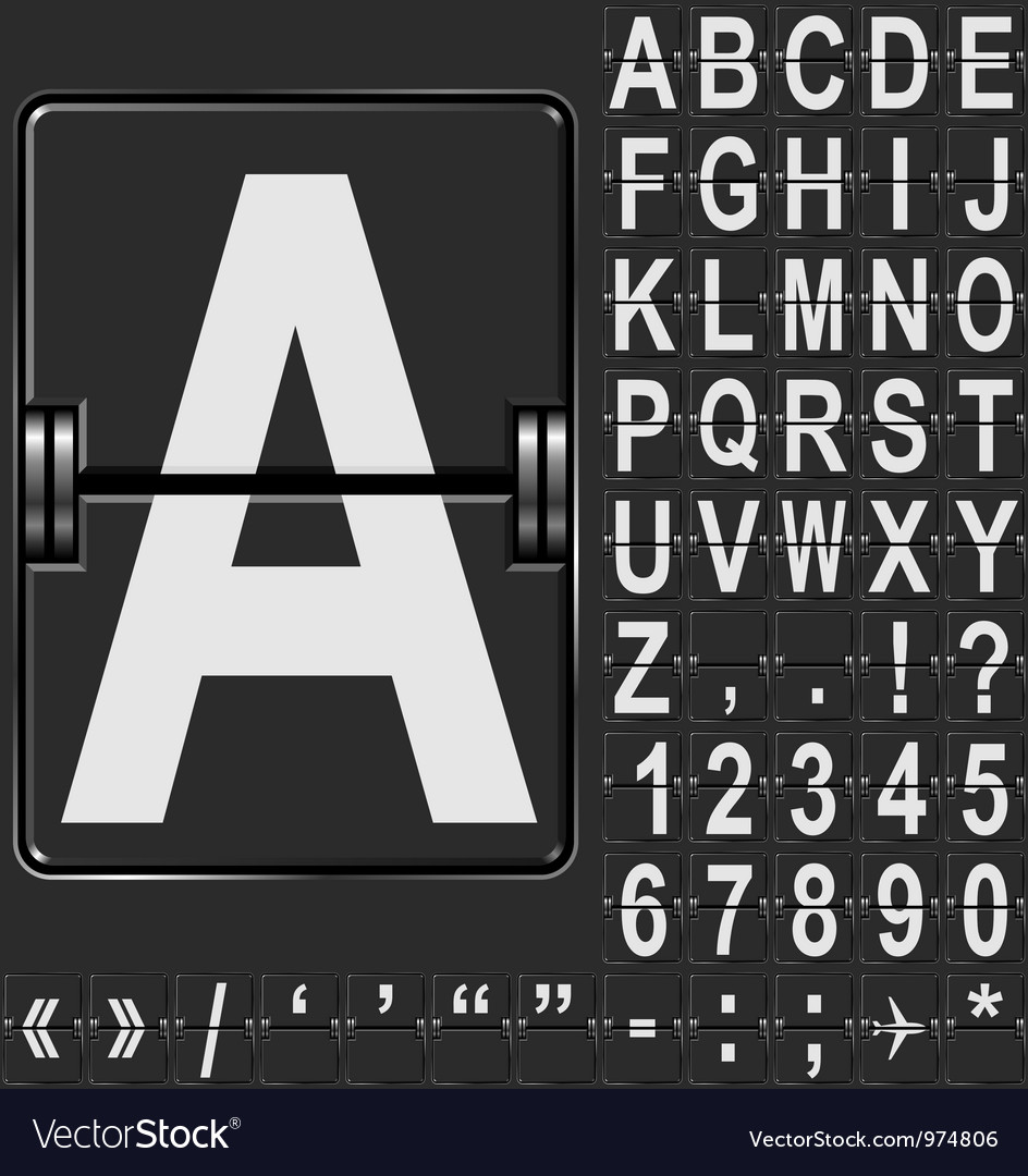 Airport display alphabet vector