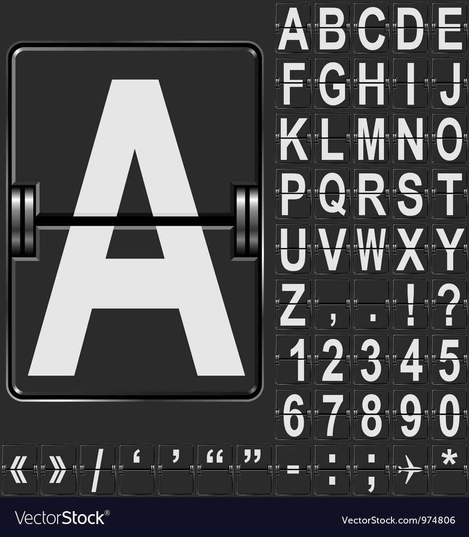Airport display alphabet vector