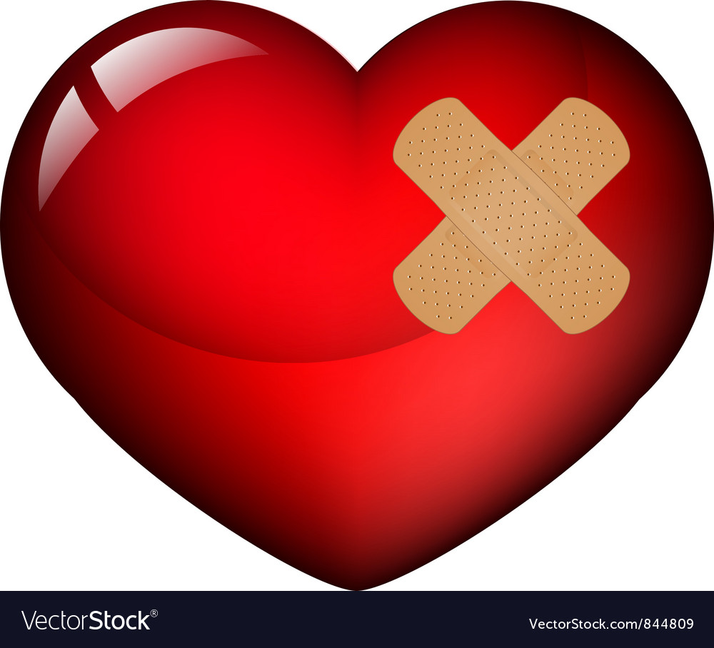 Heart with plaster vector