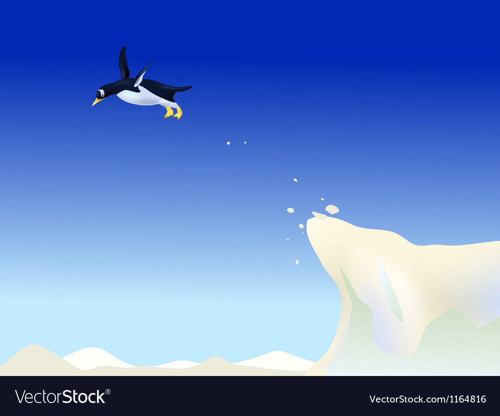 Diving penguin vector