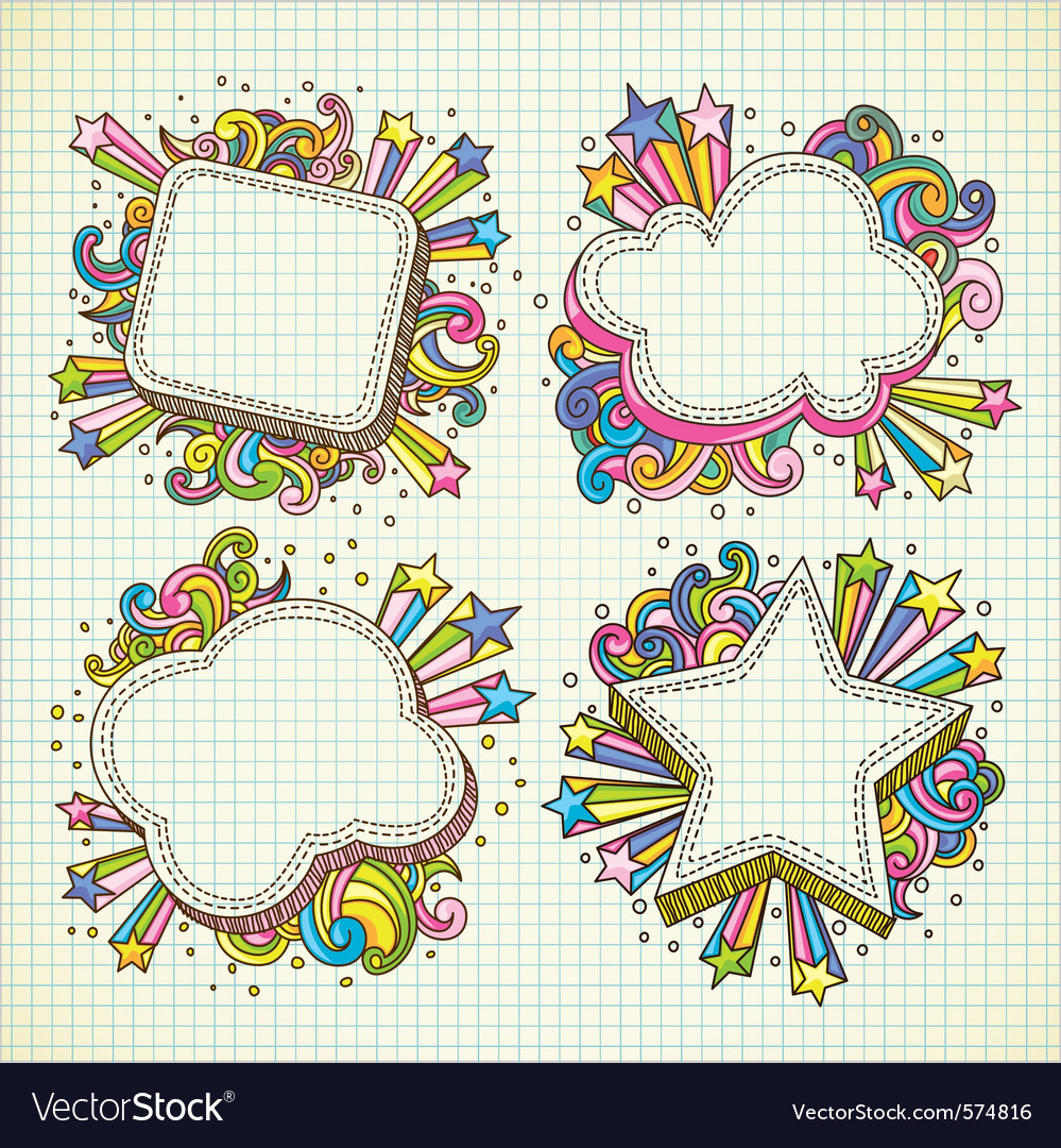Set of abstract frame doodle vector