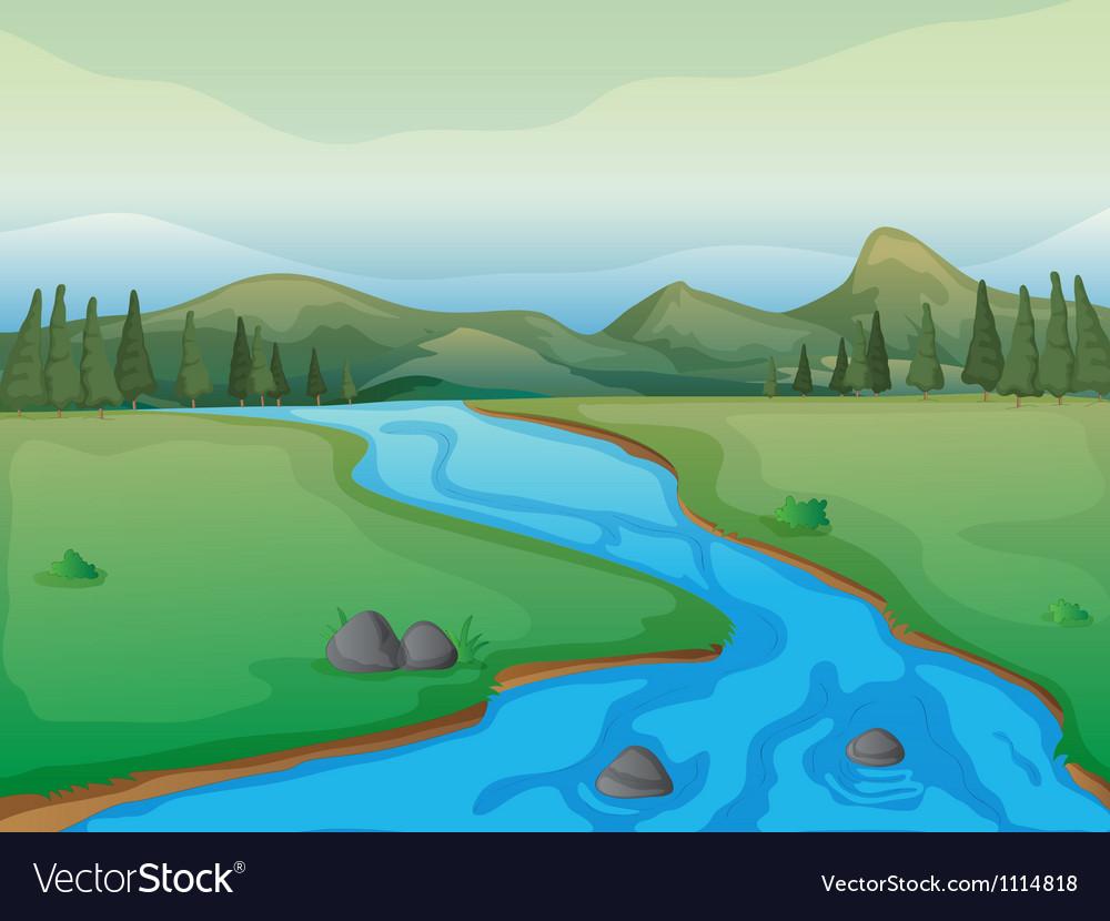 Flowing river vector
