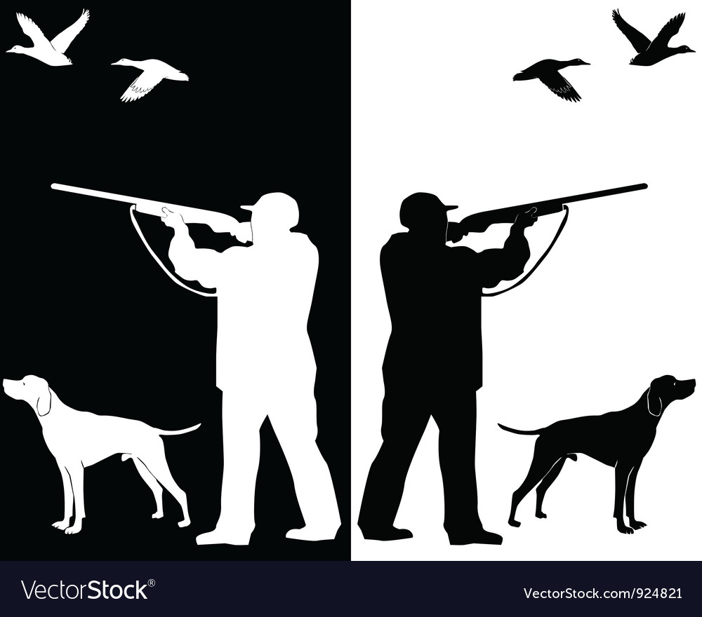 Hunter and dog silhouettes vector