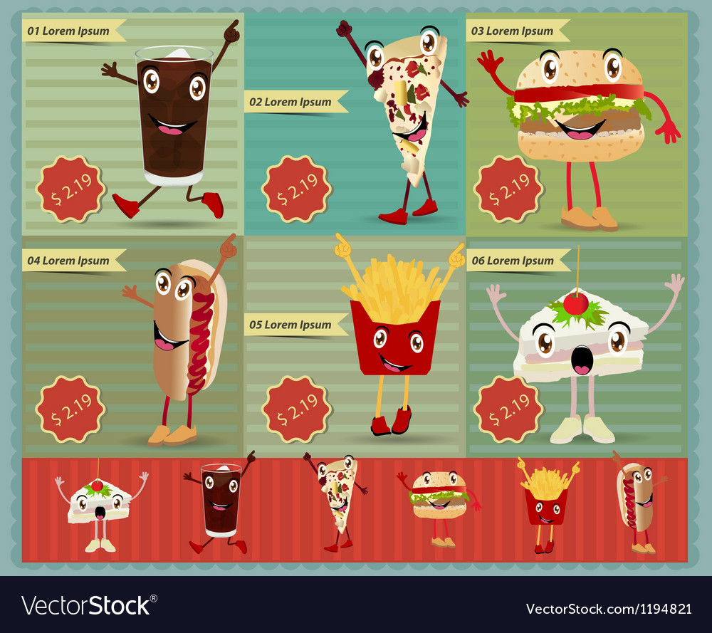 Set of retro fast food menu funny cartoon vector