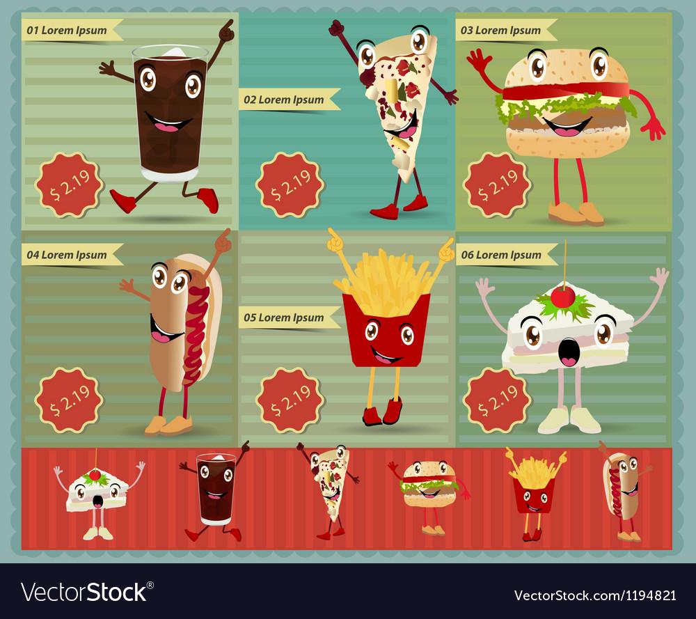 Set of retro fast food menu funny cartoon vector
