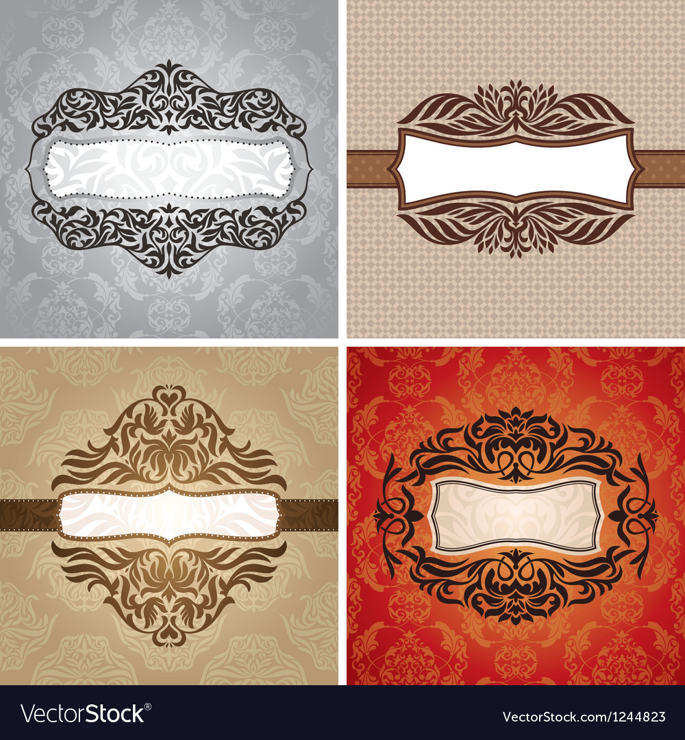 Set of floral vintage frames vector