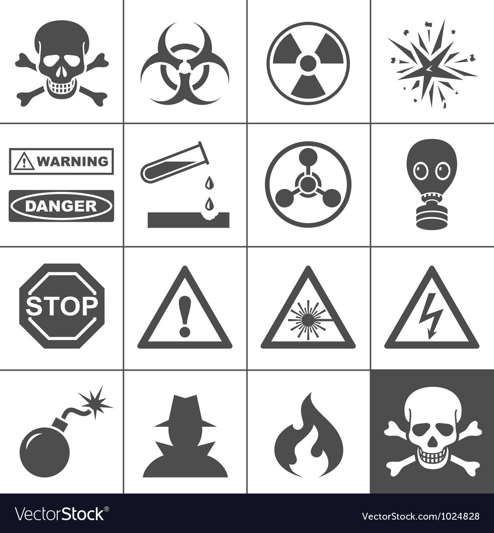 Danger and warning icons simplus series vector