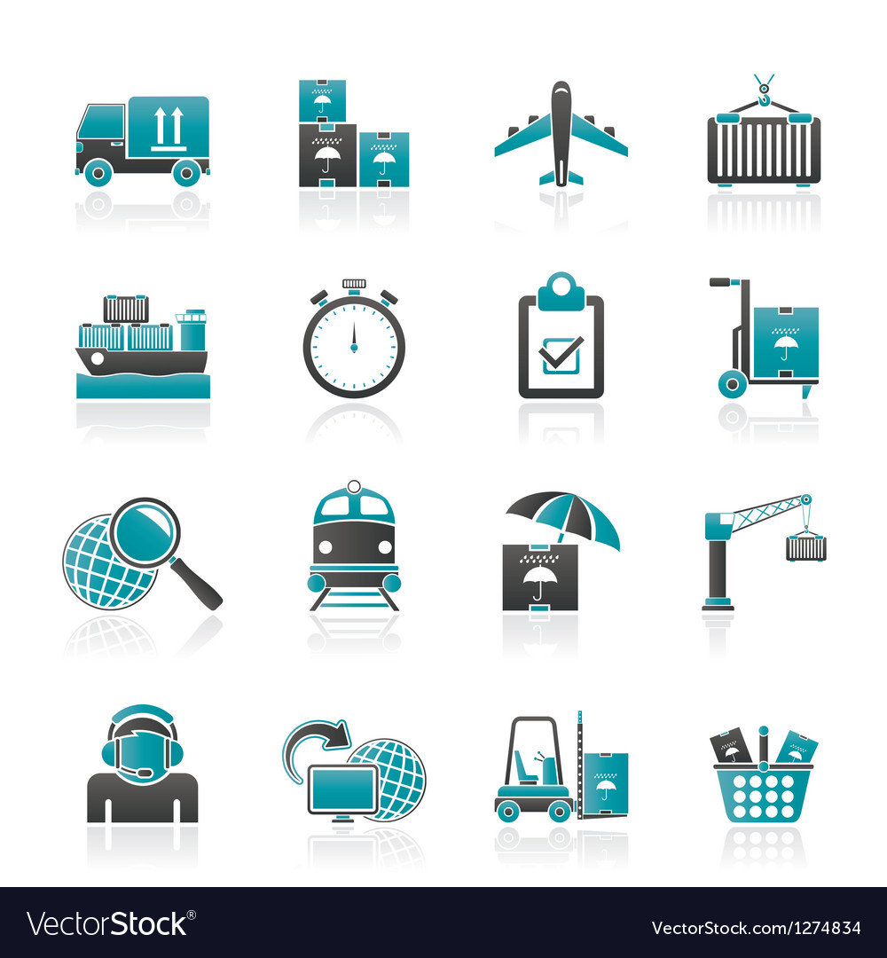 Shipping and logistic icons vector