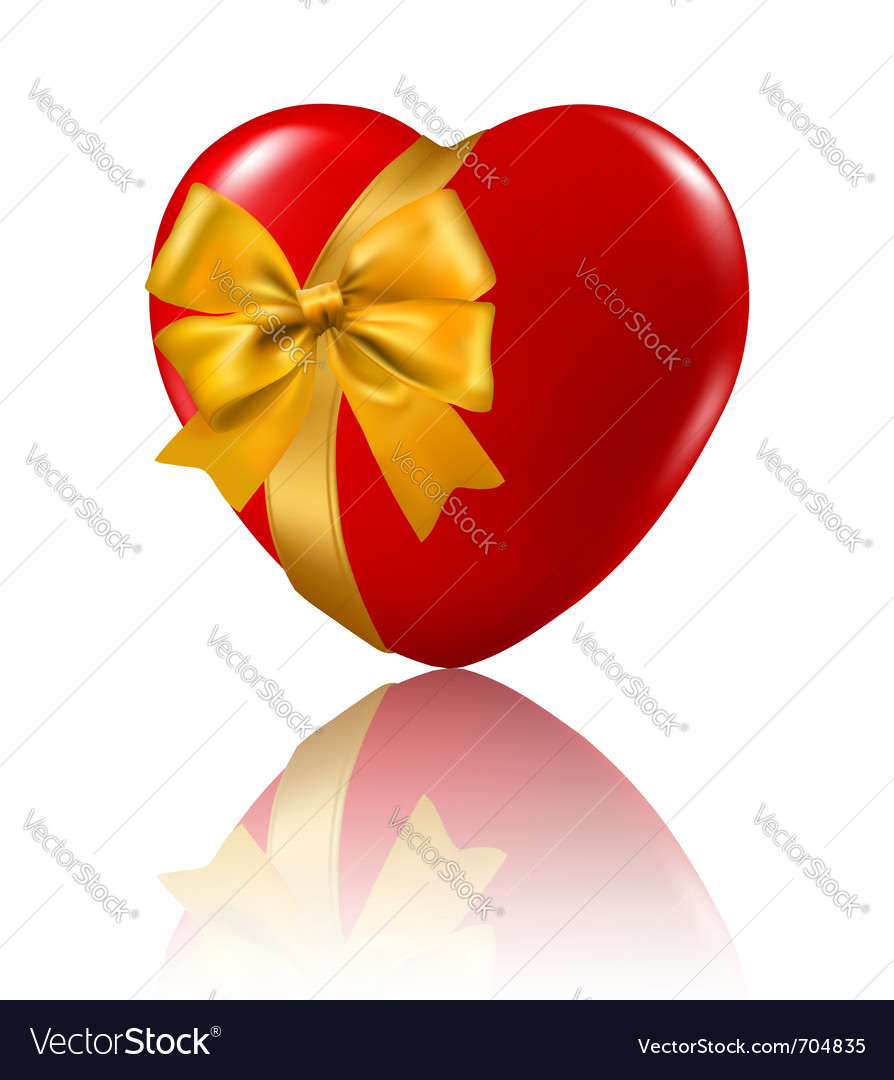 Red heart with a ribbons vector
