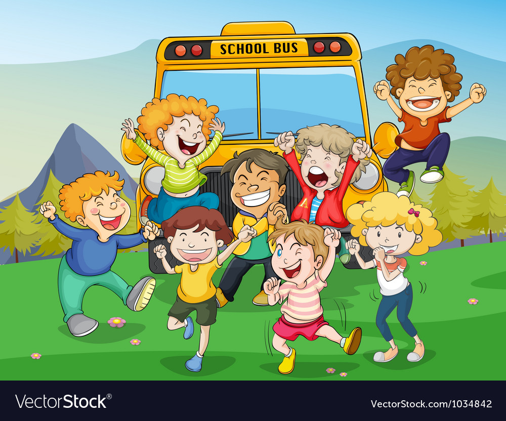 Kids and school bus vector