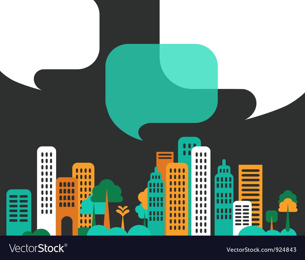 City talks buildings vector
