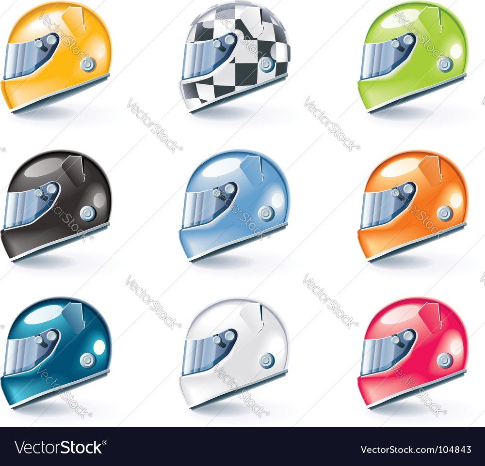 Racing helmets icons vector