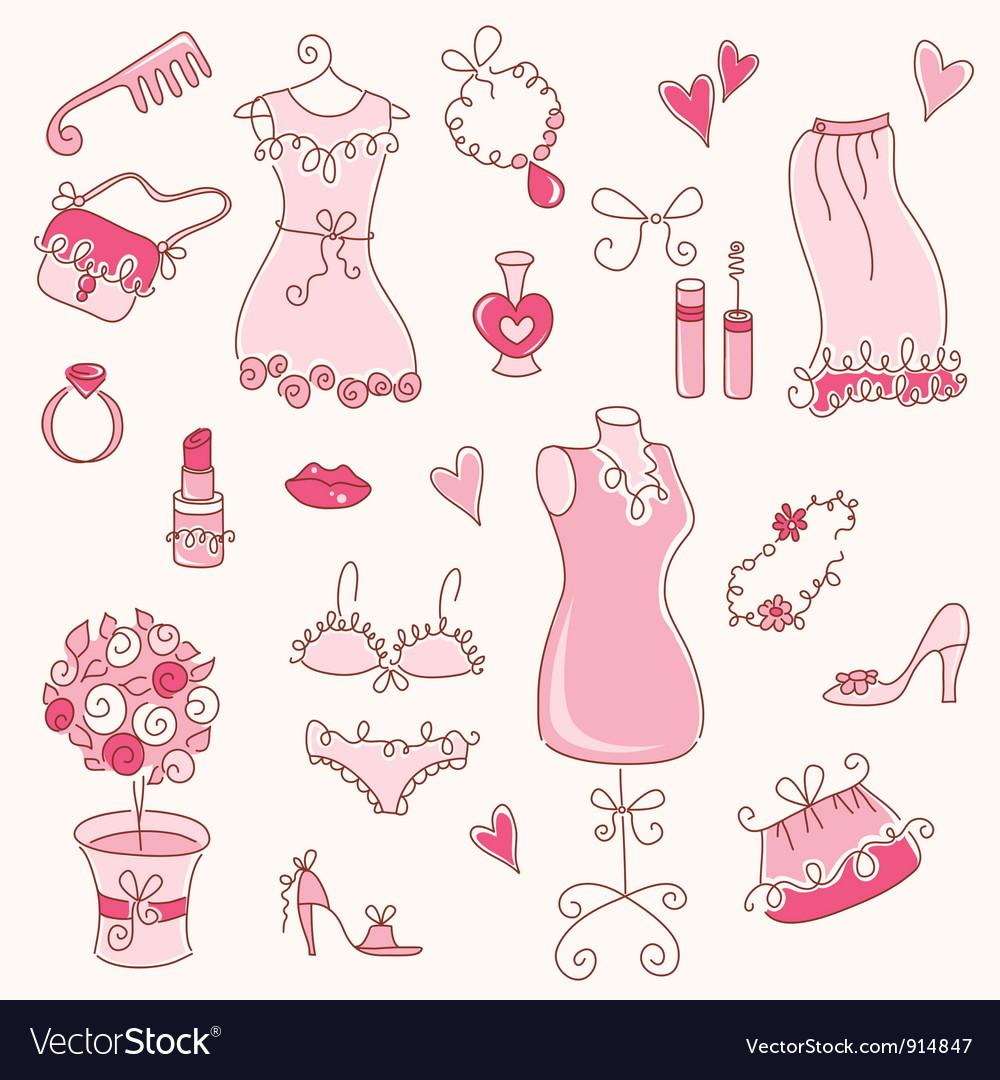 Lady dreams graphic set vector