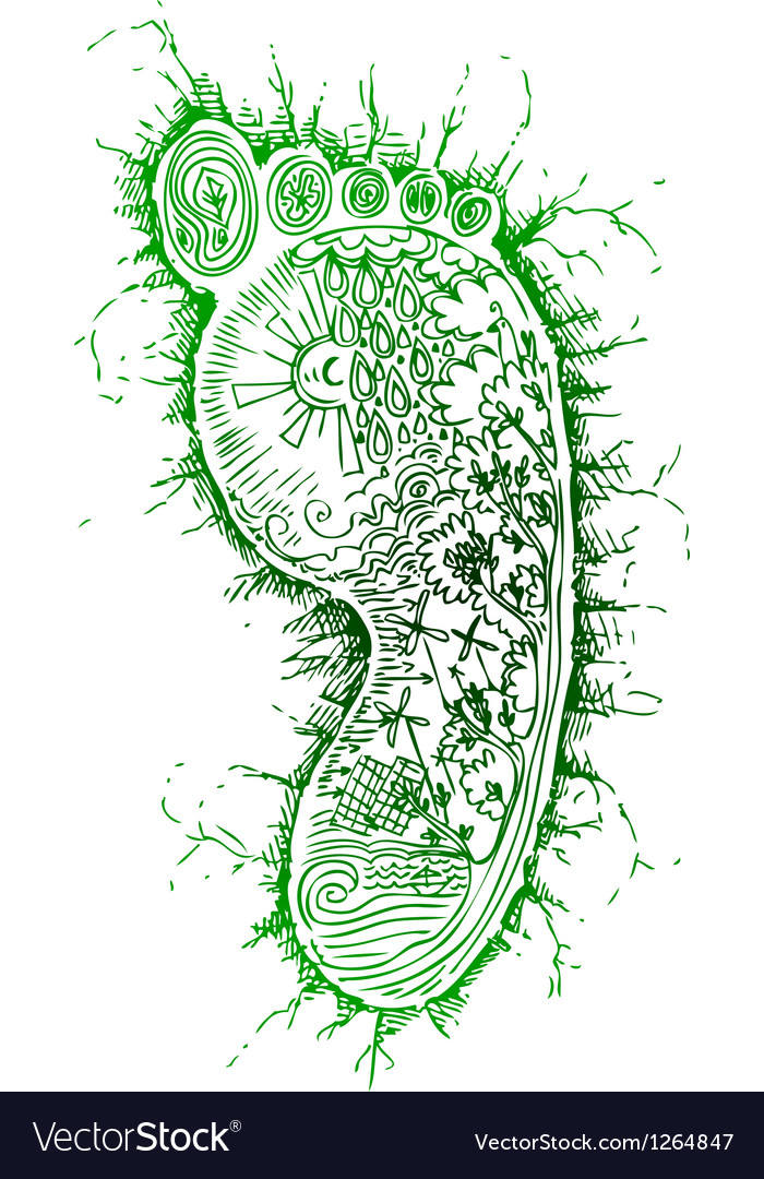 Sketchy doodles green footprint vector