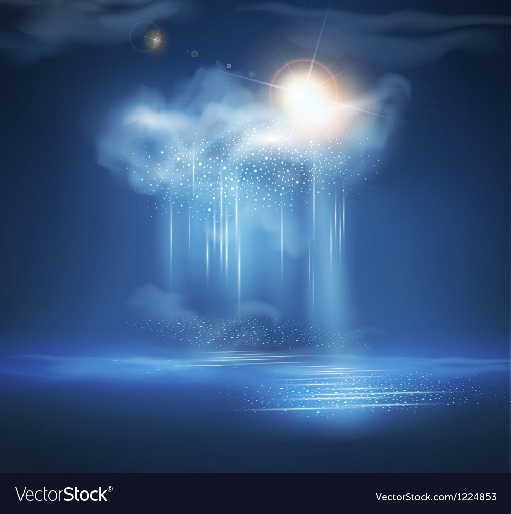 Sea night landscape with thunderstorm and light vector