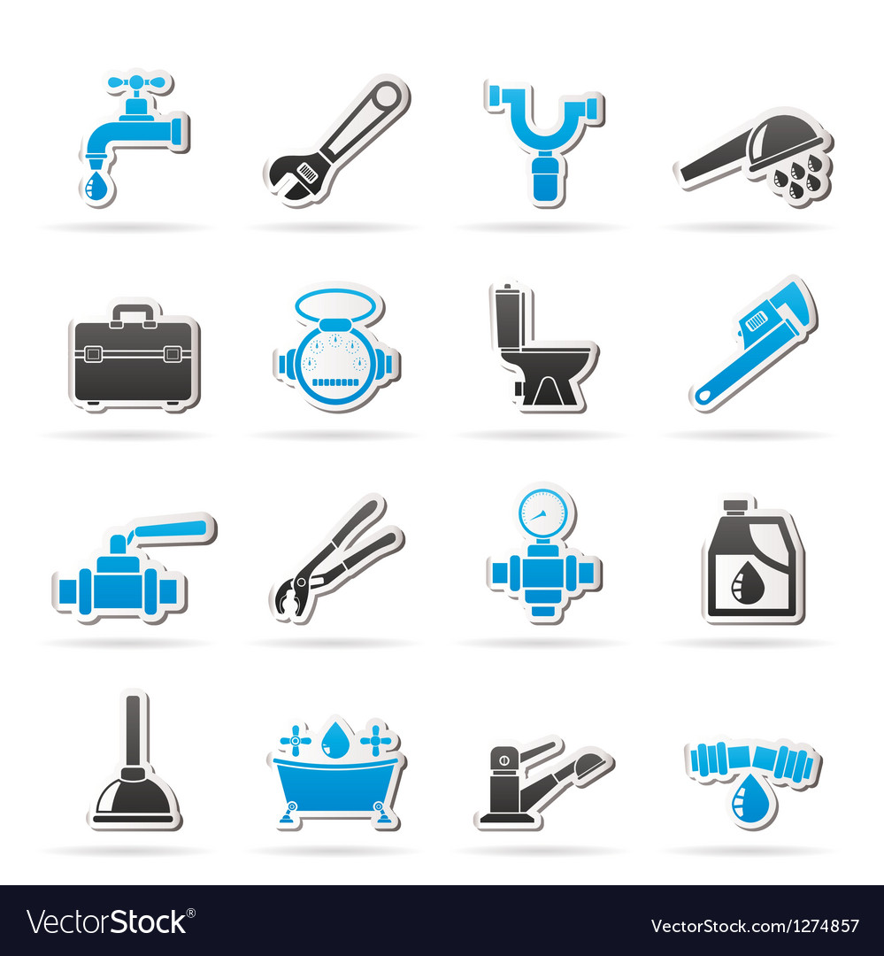 Plumbing objects and tools icons vector