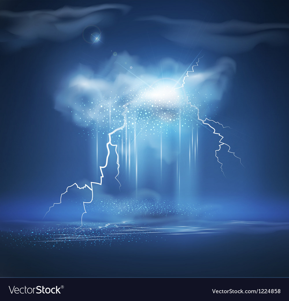 Night sea landscape with storm vector