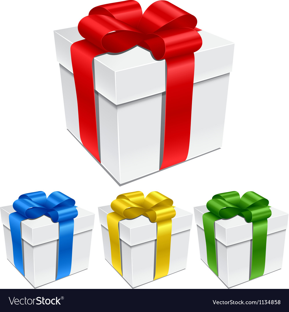 Set of gift boxes with bows and ribbons vector