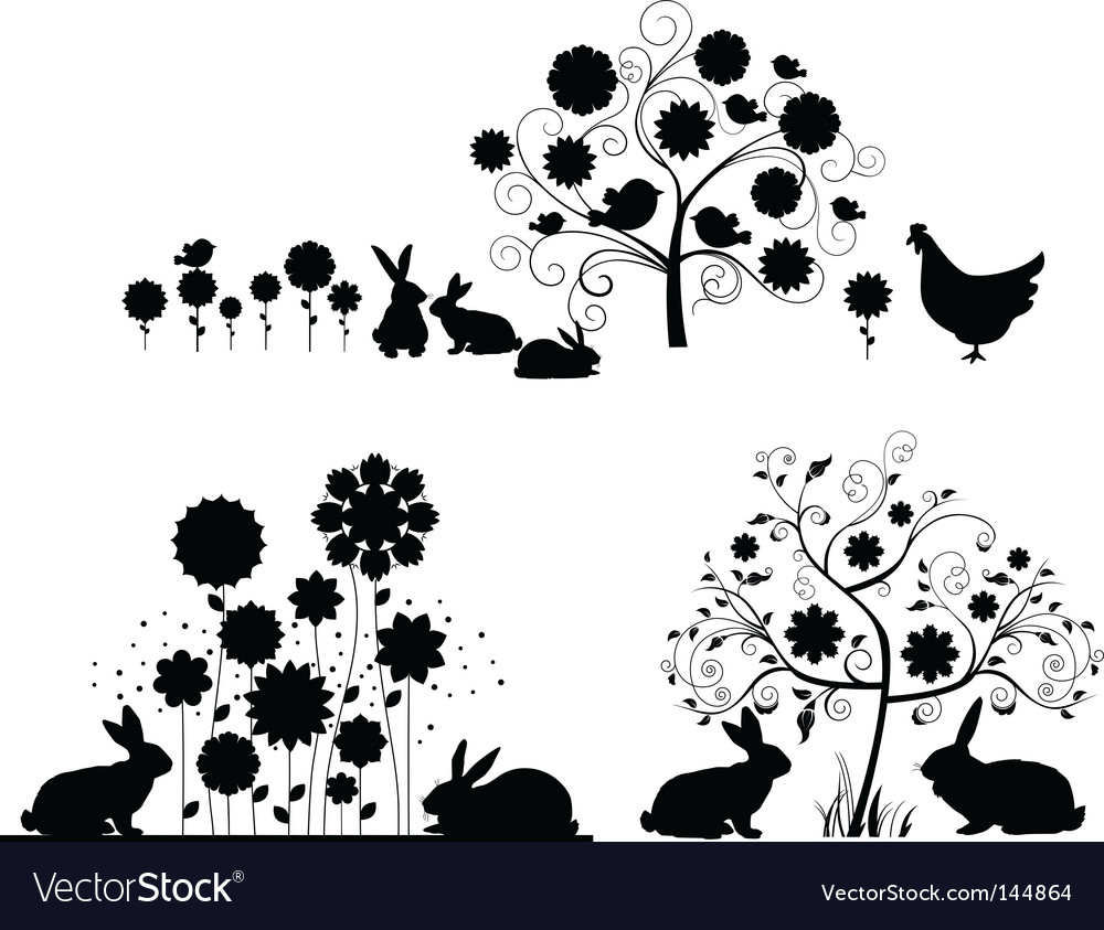Set of easter silhouettes vector