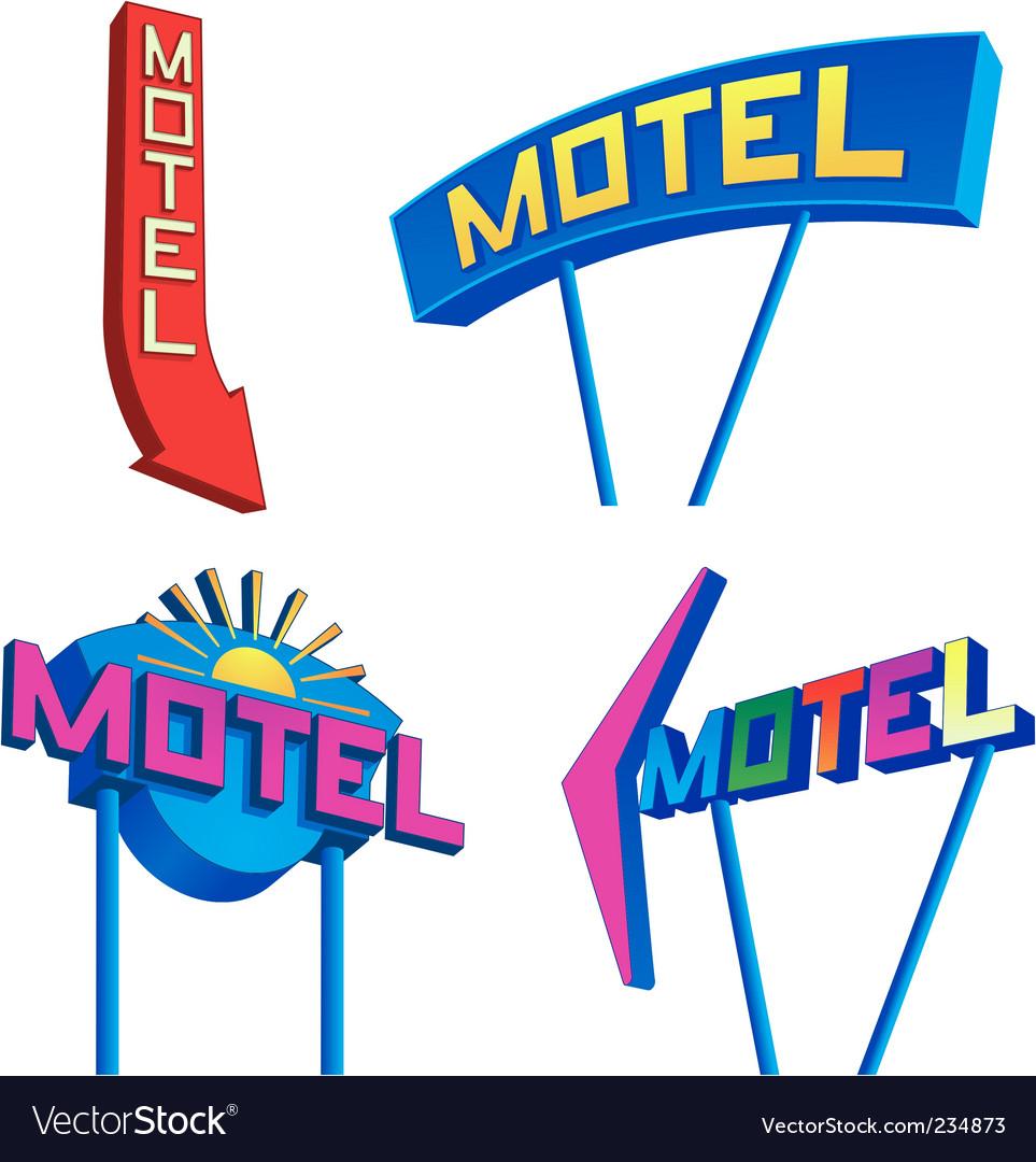 Motel signs vector
