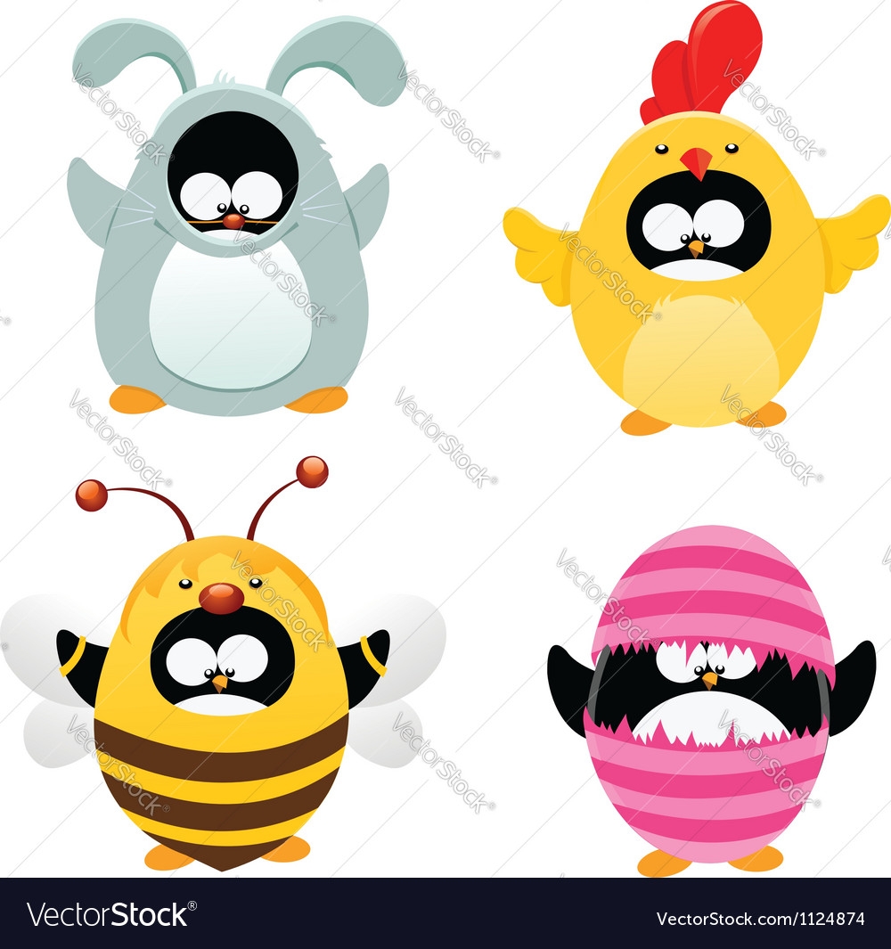 Easter penguin set vector