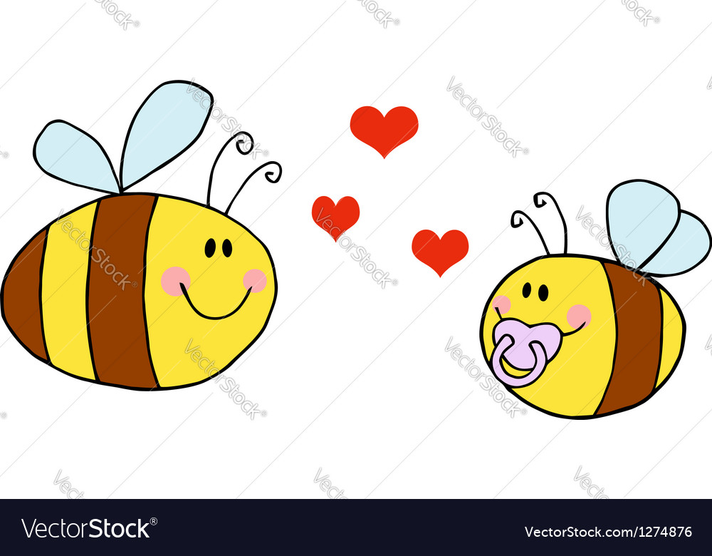 Mother bee flying with baby bee vector