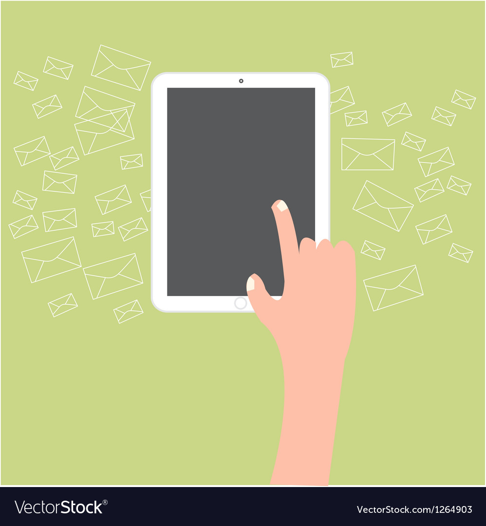 Finger touch tablet with email icon background vector