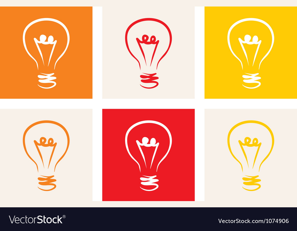 Light bulb icon - hand drawn colorful doodle set vector