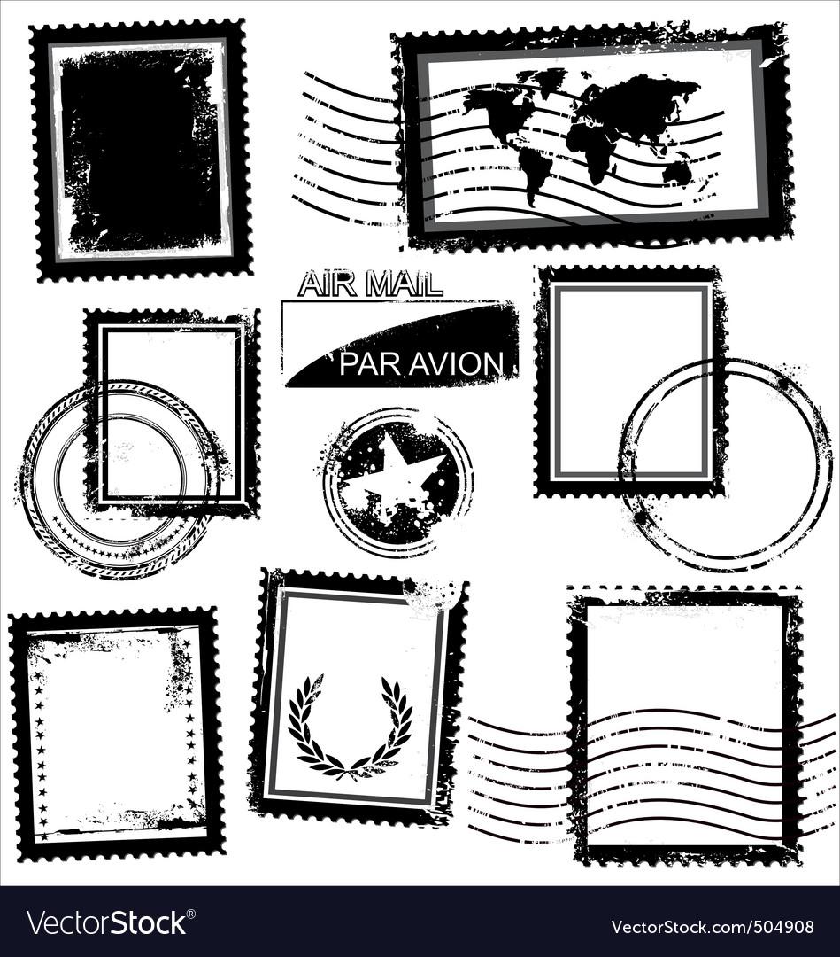 Blank grunge postage stamps vector