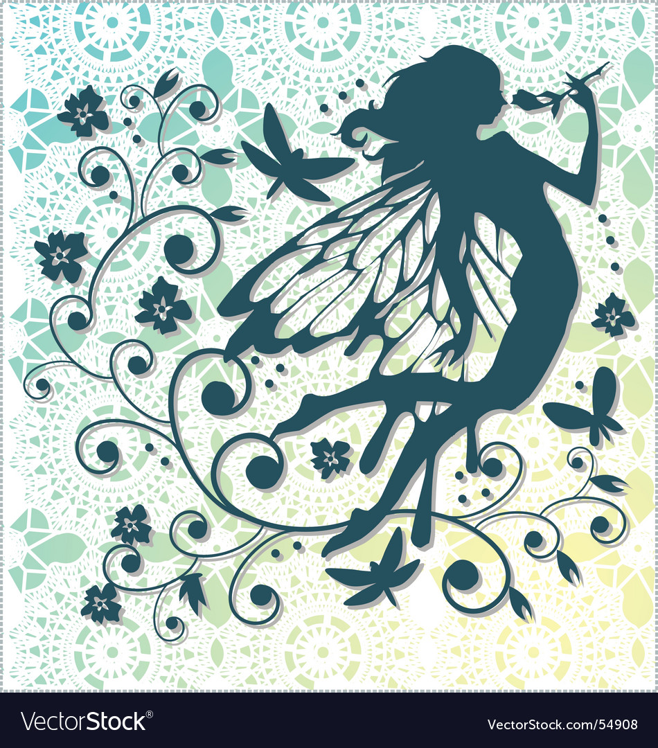 Lace fairy background vector