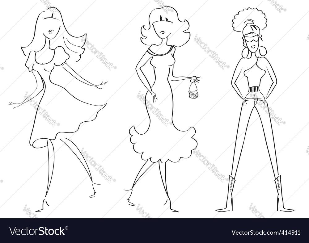 Fashion girls1 vector