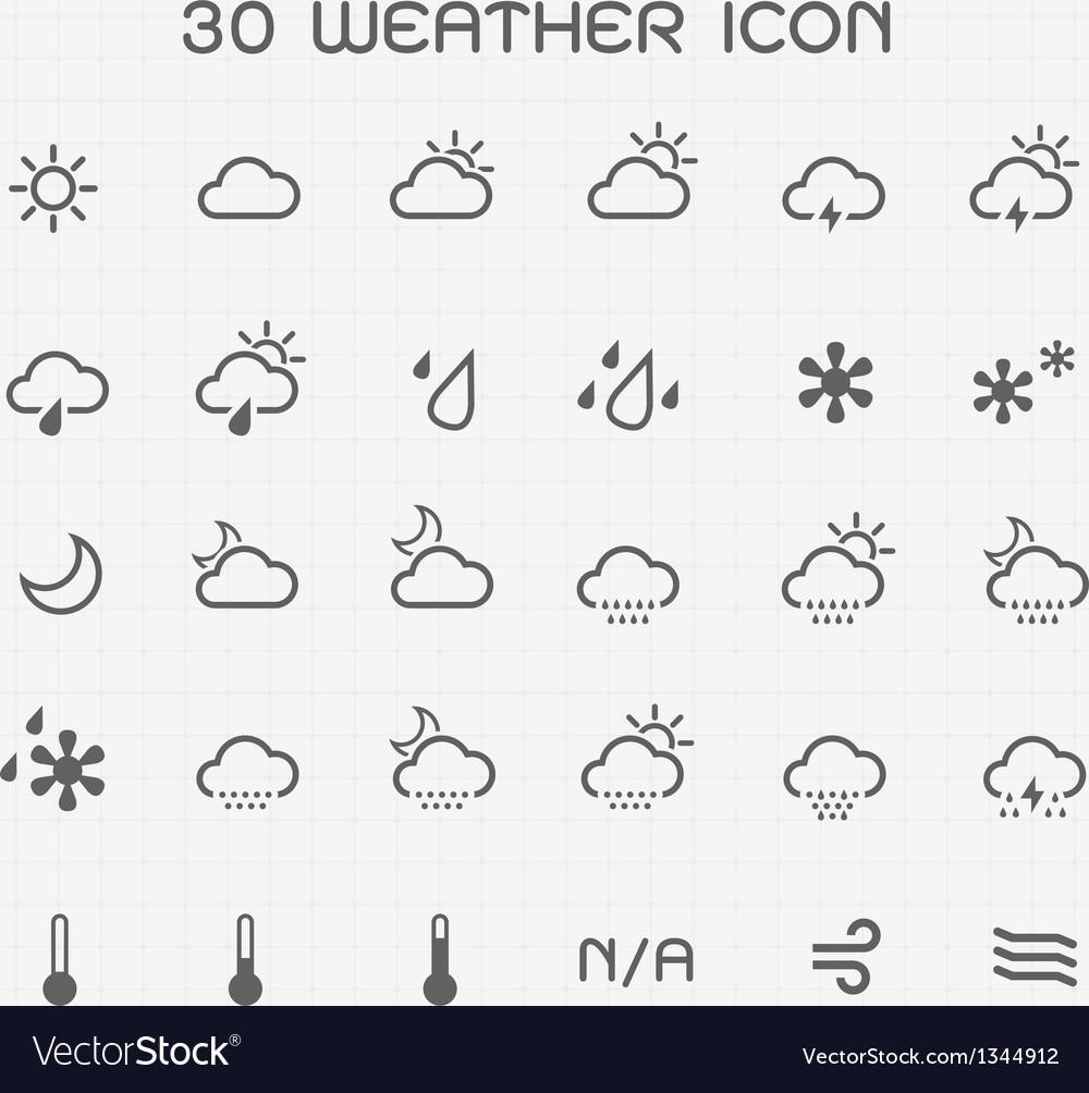 Monotone weather icon set vector