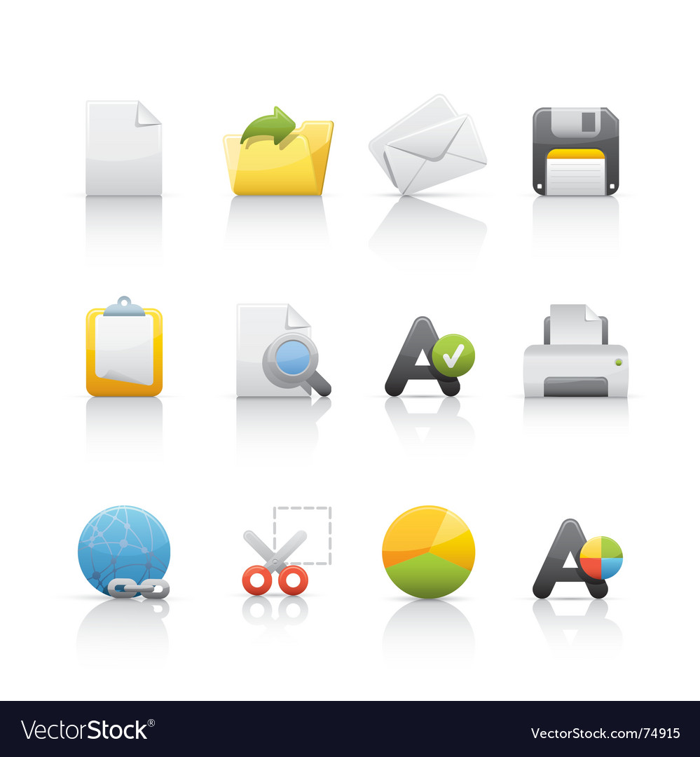 Icon set office and business vector