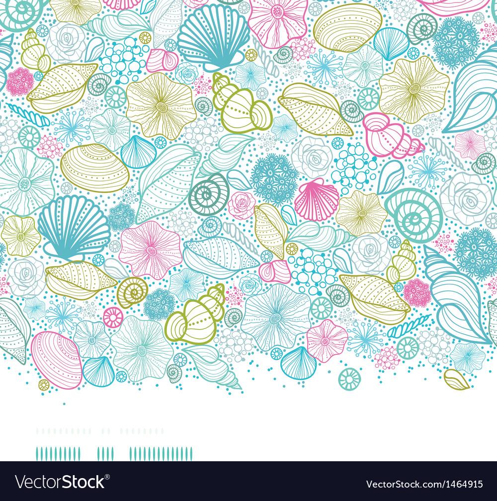Seashells line art horizontal seamless pattern vector