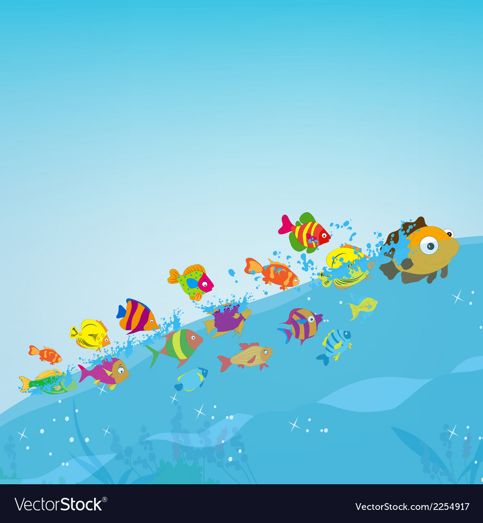 Family Of Fish Under Sea Vector Clipart