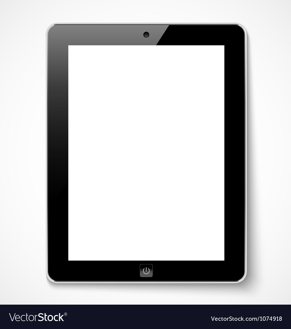 Tablet computer with white screen vector