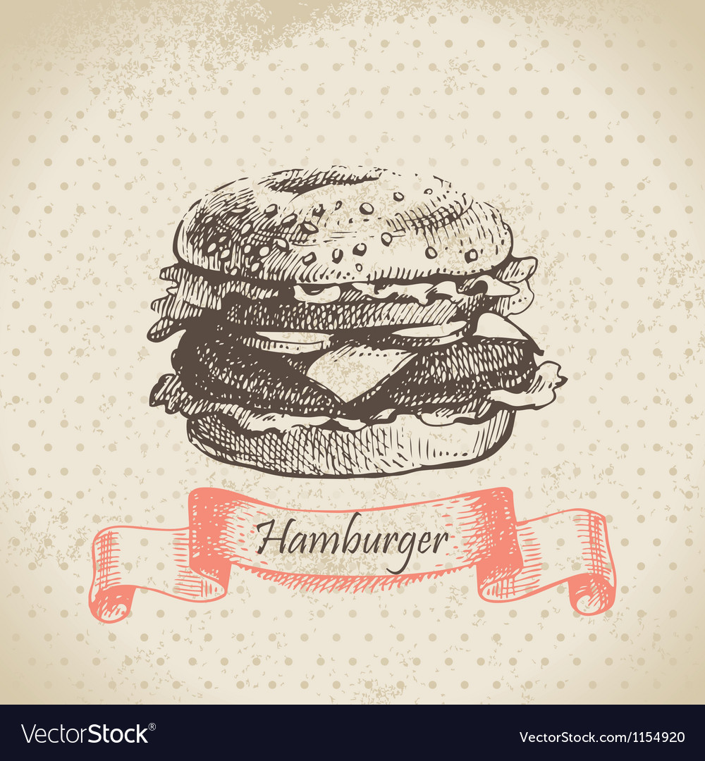 Hamburger hand drawn background vector