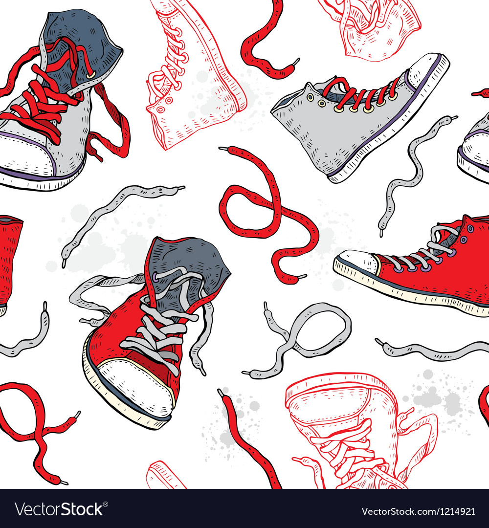 Sneakers shoes seamless pattern vector