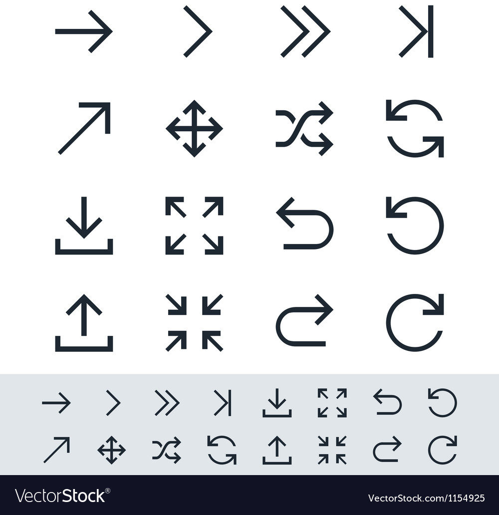 Arrow symbol icon set simplicity theme vector