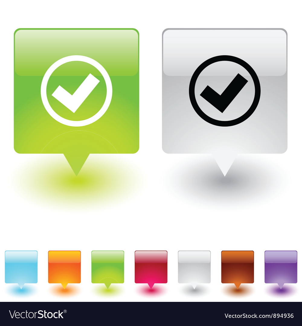 Mark square button vector