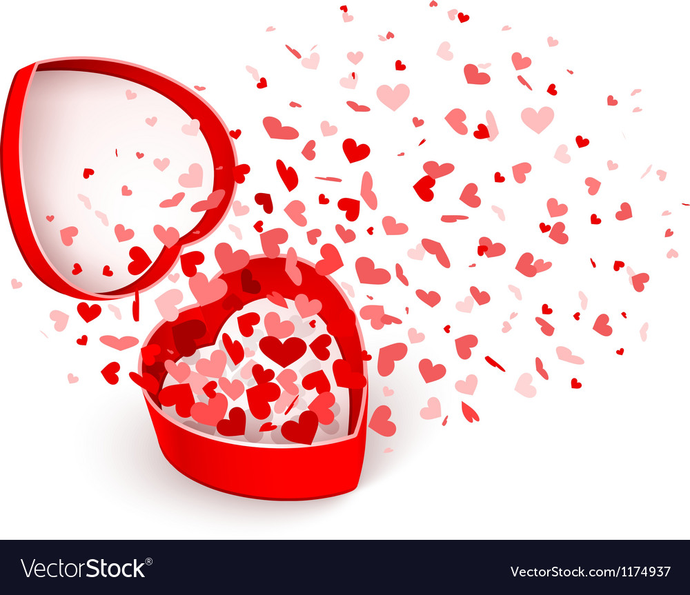 Gift box with hearts vector
