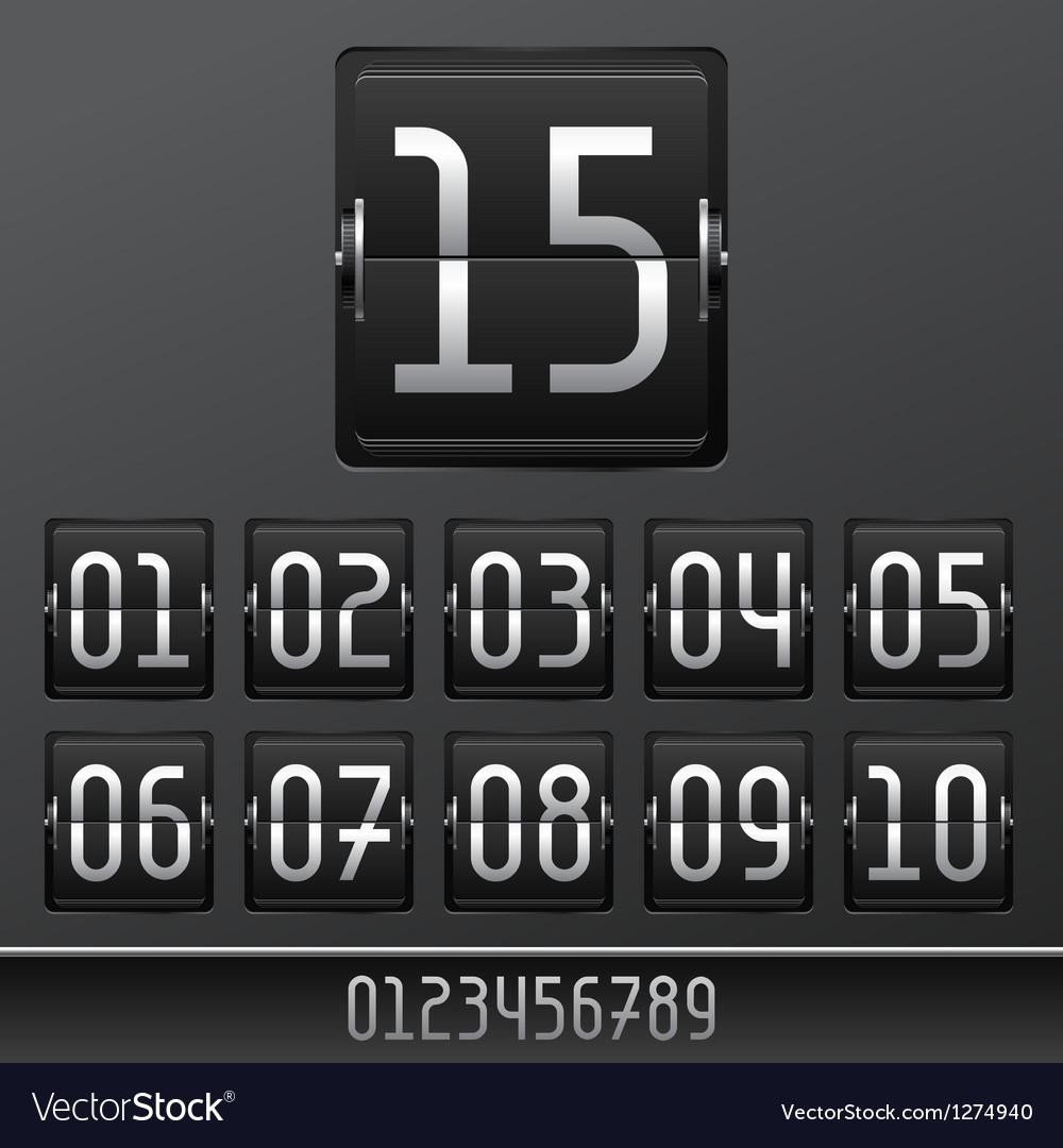 Mechanical scoreboard numbers panel background vector