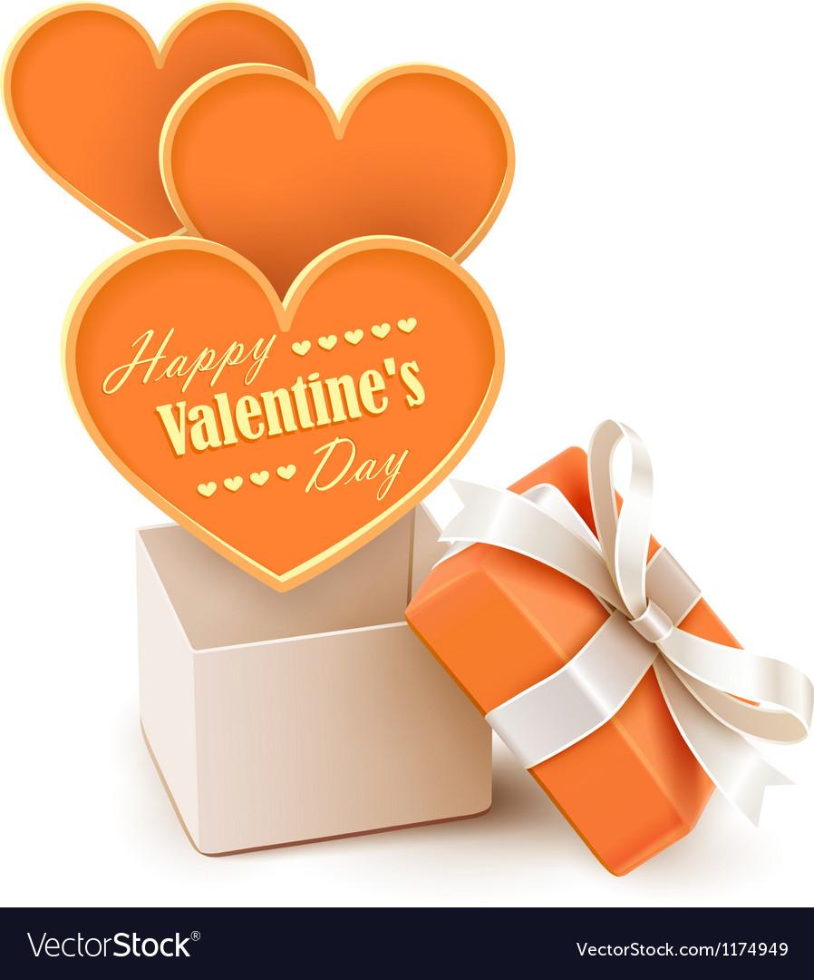 Gift box with big hearts vector
