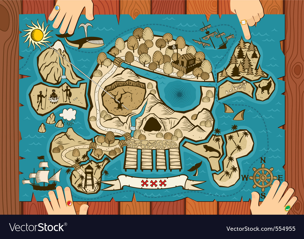 Treasure map on desk vector