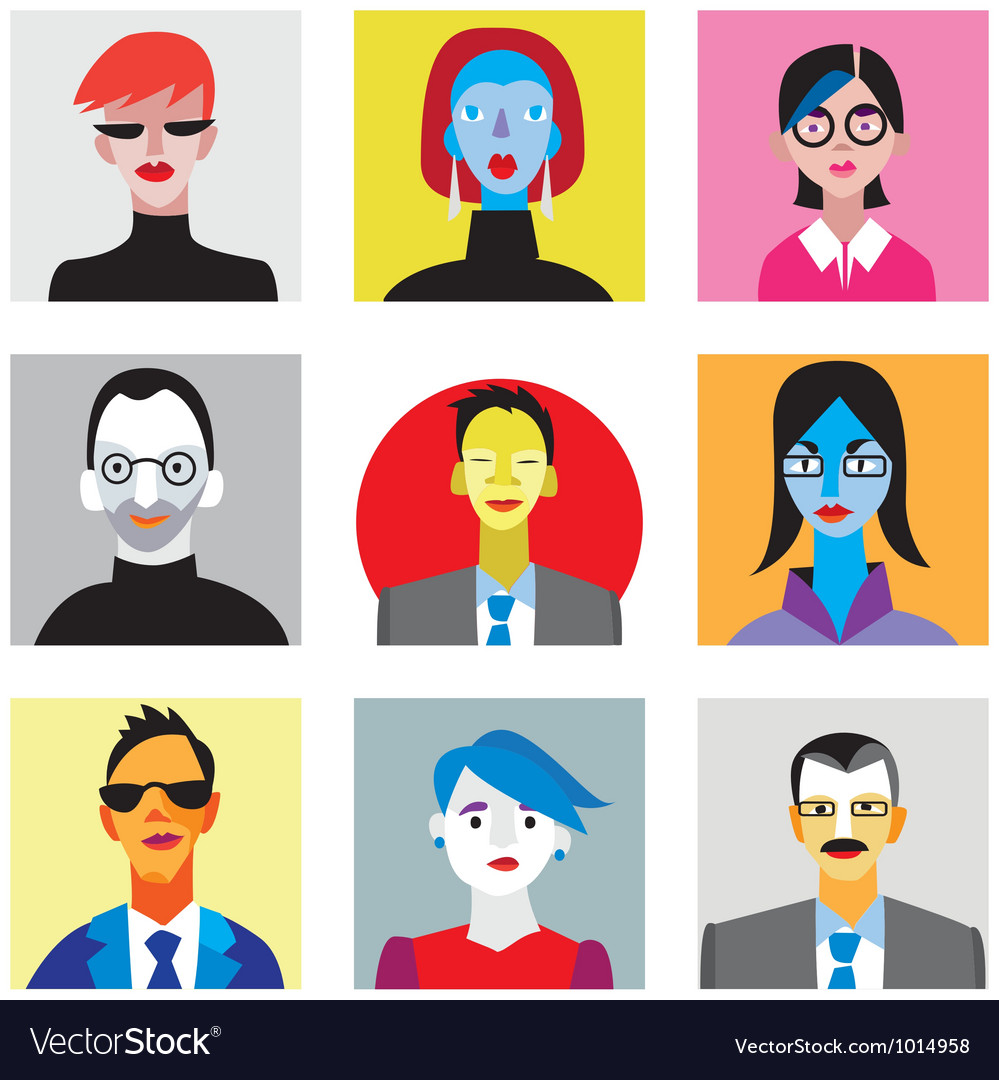Avatar businessmen businesswomen set vector