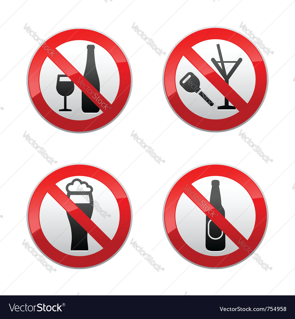 Set prohibited signs - dont drinks vector