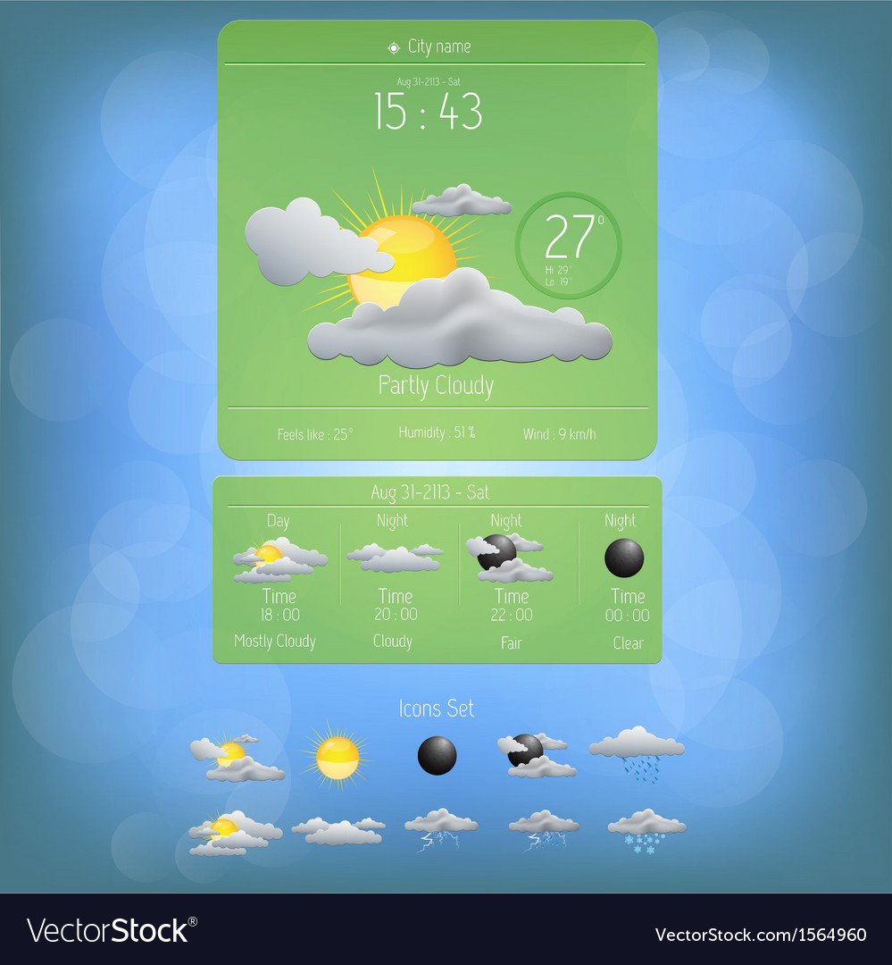 Weather widget template 5 vector